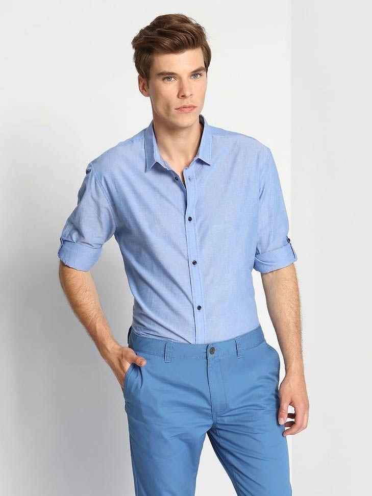 Top Secret Košile pánská dlouhý rukáv - Modrá - velikost 38/39