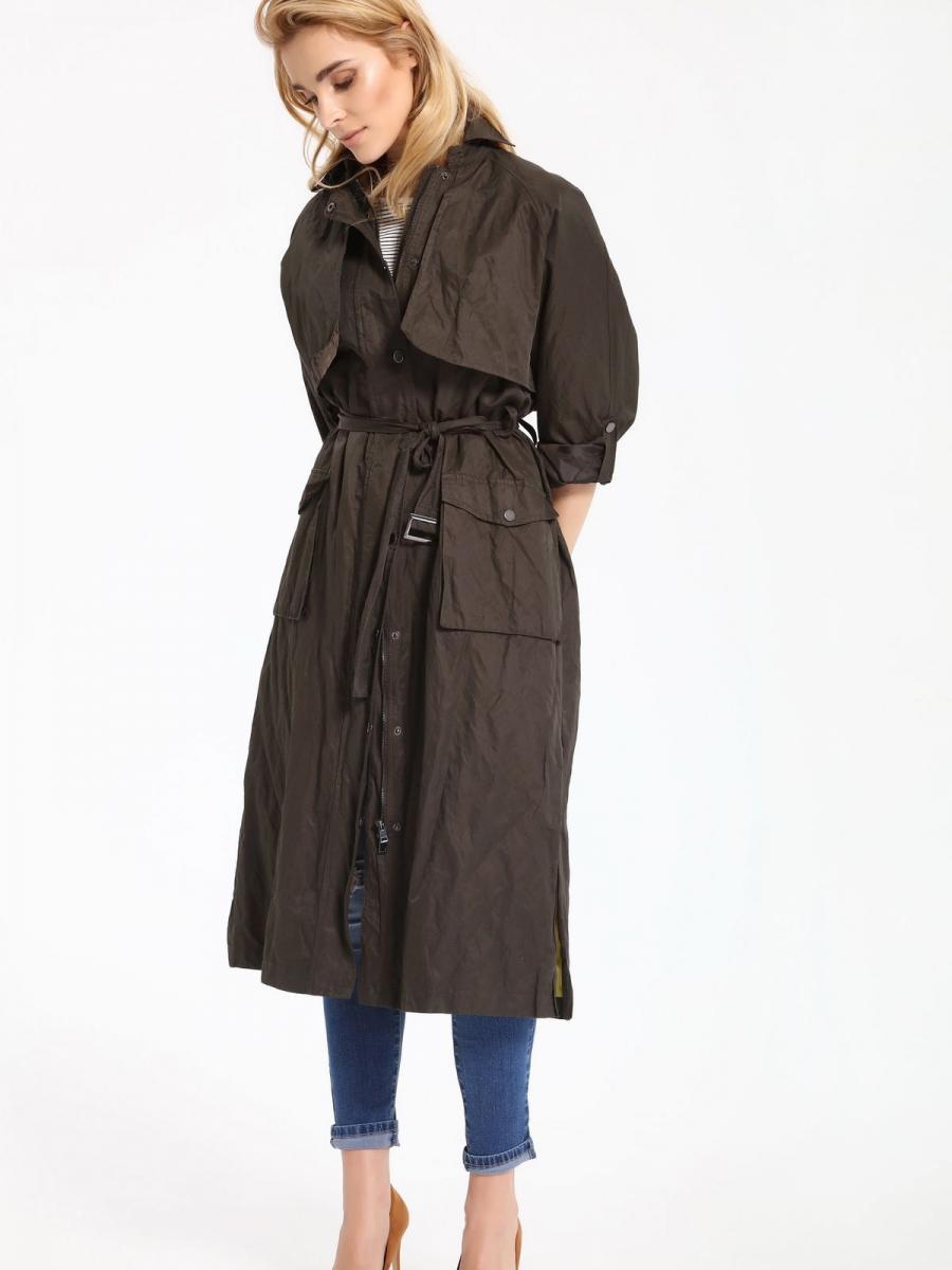 Top Secret Kabát dámský dlouhý - Hnědá - velikost 34