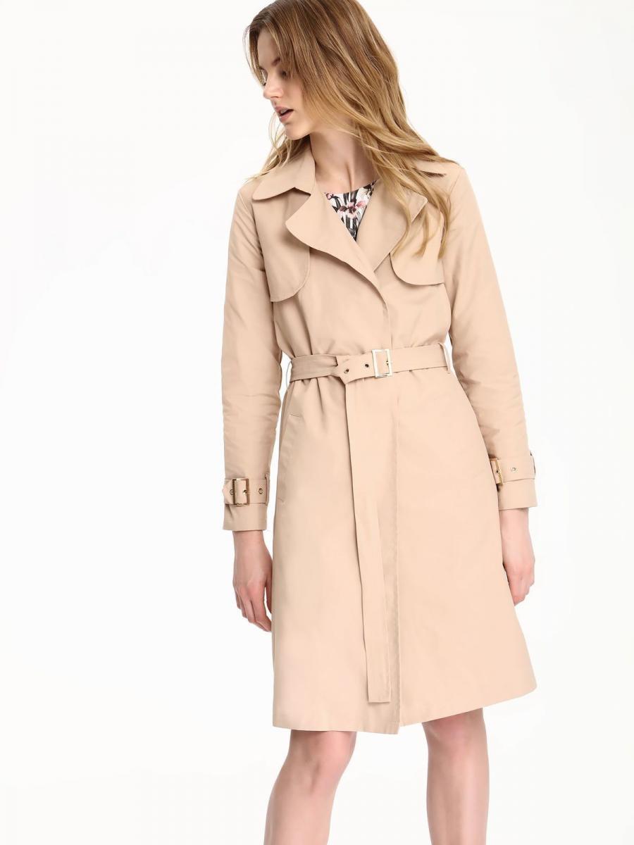 Top Secret Kabát dámský béžový s páskem - Béžová - velikost 34