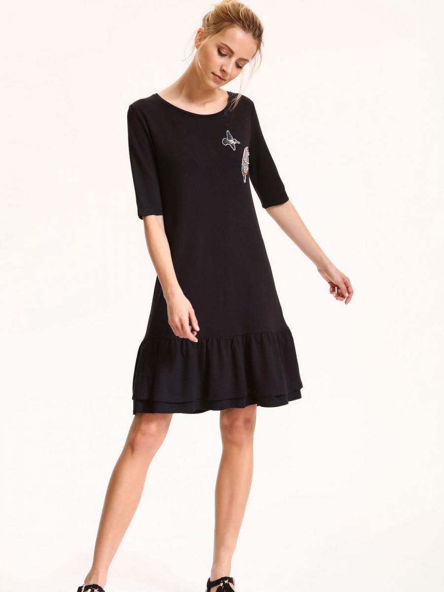 Top Secret šaty dámské černé s volánkem a nášivkama krátký rukáv