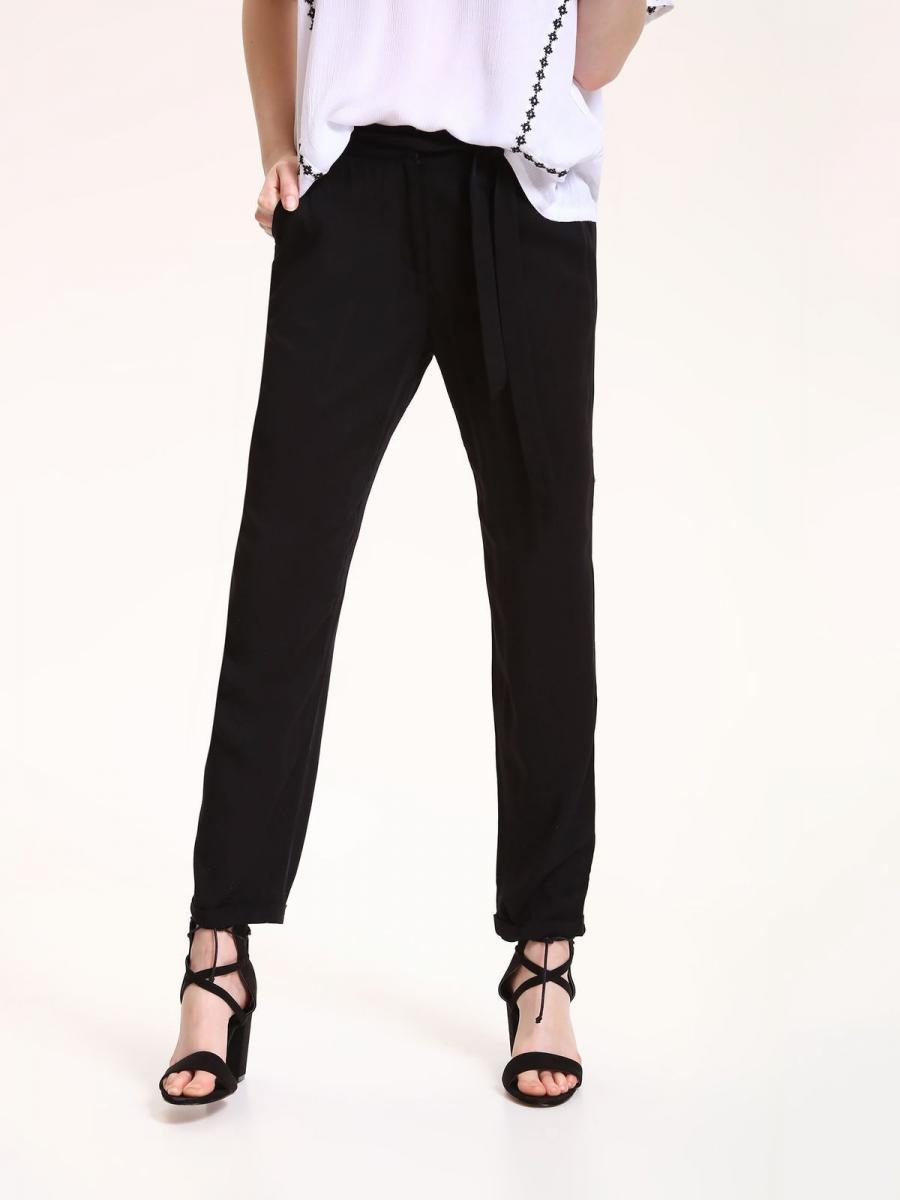 Top Secret Kalhoty dámské černé společenské s páskem - černá - velikost 34