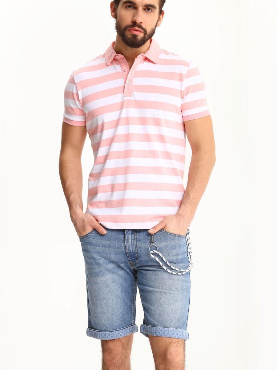 Top Secret Triko pánské pruhované růžové s límečkem krátký rukáv