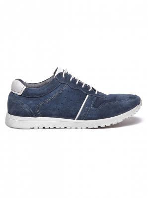 Boty pánské modré kožené