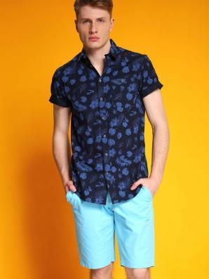 Košile pánská modrá s krátkým rukávem