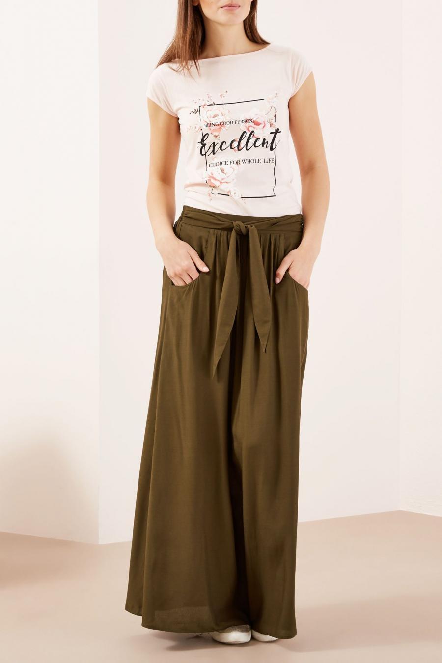 Moodo Sukně dámská dlouhá s páskem - Hnědá - velikost S