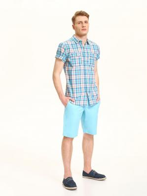 Košile pánská bledě modrá s proužkem a krátkým rukávem