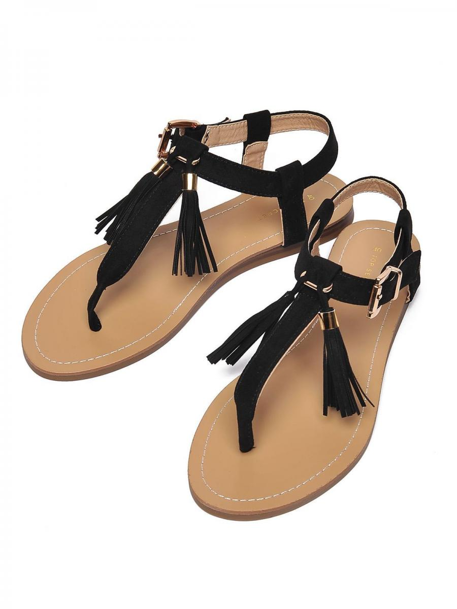 Top Secret Sandály dámské s třásněmi černé