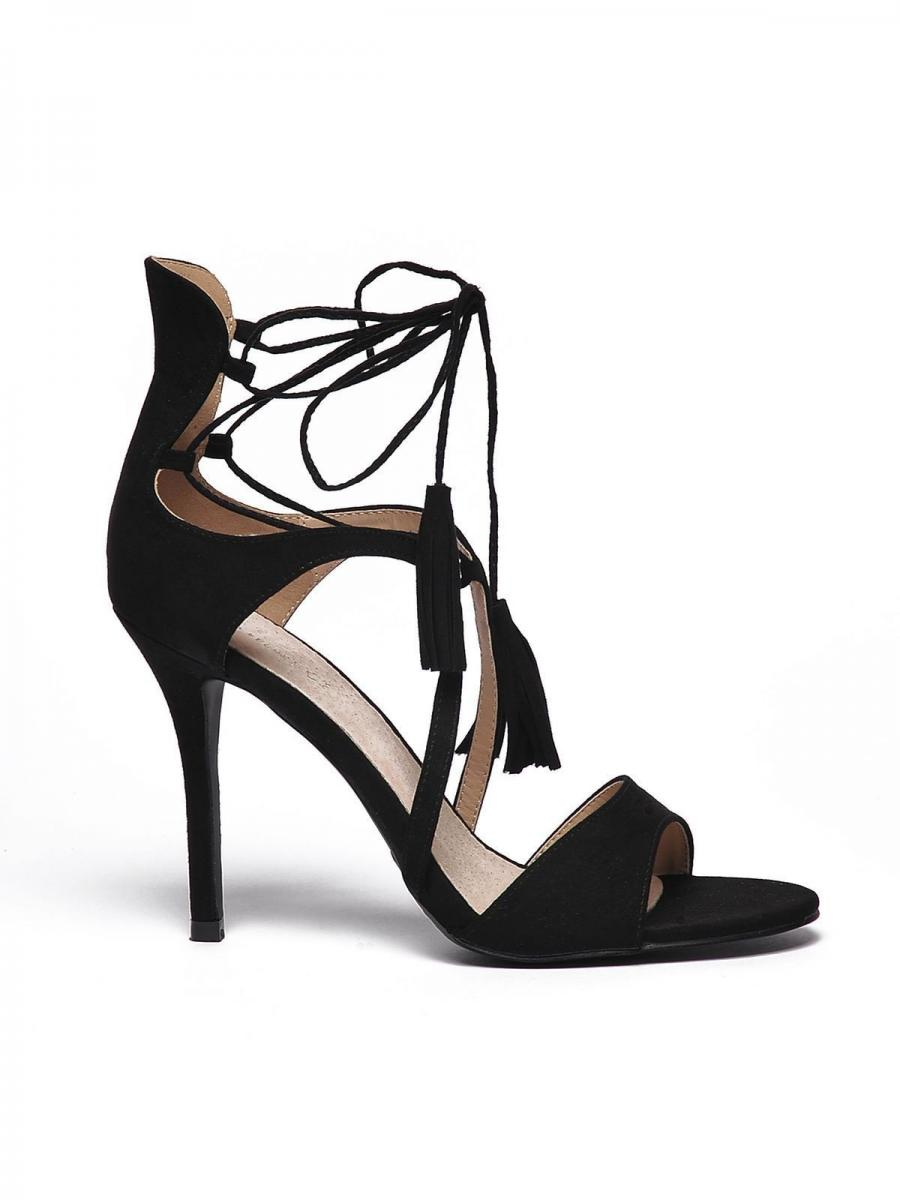 Top Secret Sandály dámské černé na podpatku