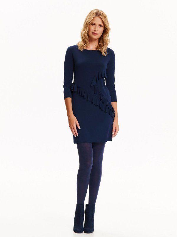 Top Secret šaty dámské elastické na tělo s 3/4 rukávem - Tmavě modrá - velikost 34