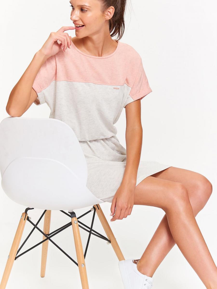 Top Secret šaty dámské s krátkým rukávem a gumou v pase - Světle šedá - velikost S