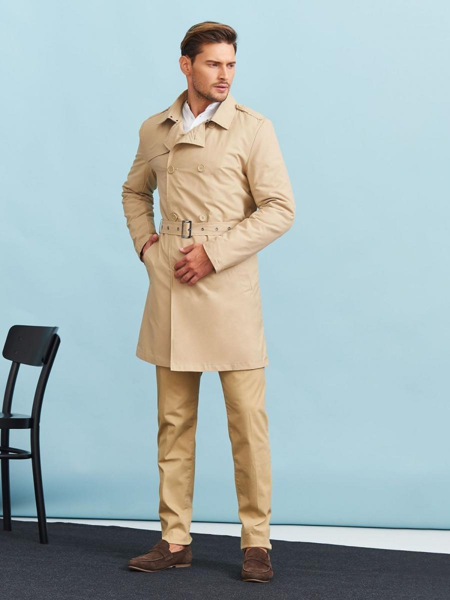 Top Secret Kabát pánský trenčkot béžový