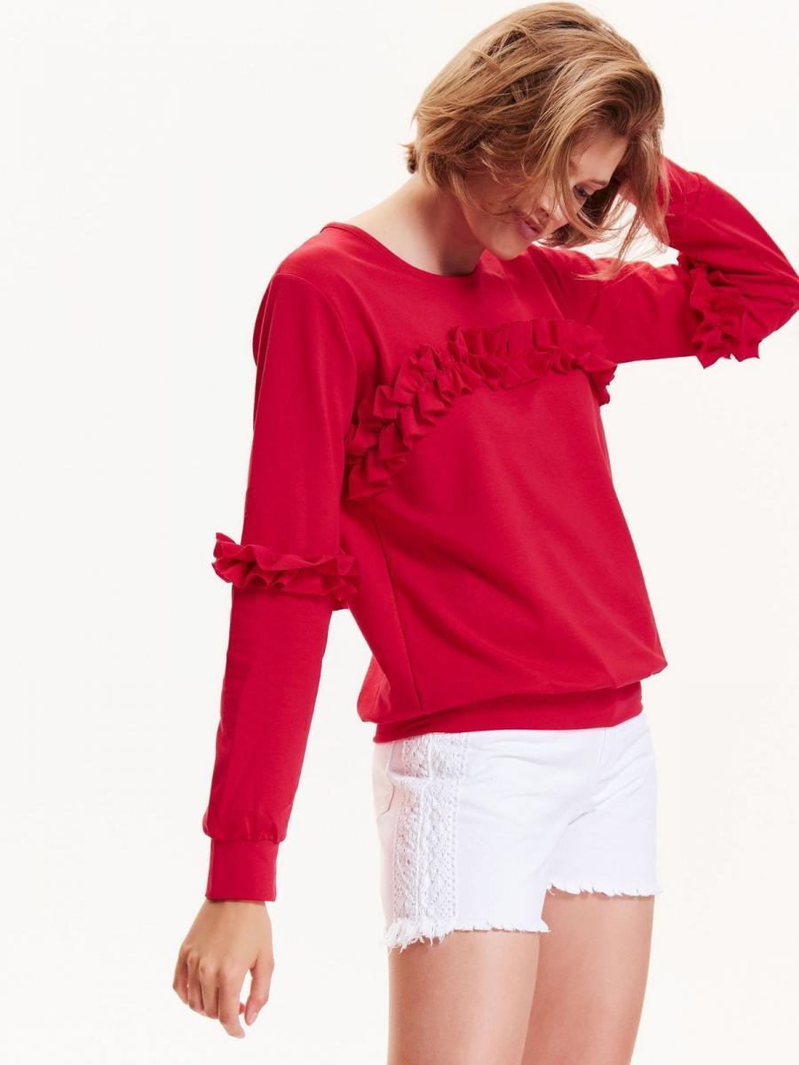 Top Secret Mikina dámská s volánky a dlouhým rukávem - červená - velikost XL