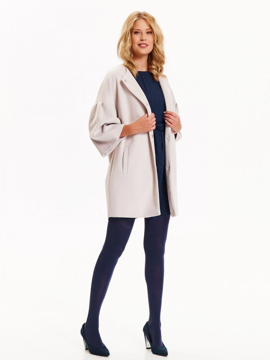 Top Secret Kabát dámský béžový na patenty s 3/4 rukávem - Béžová - velikost 34