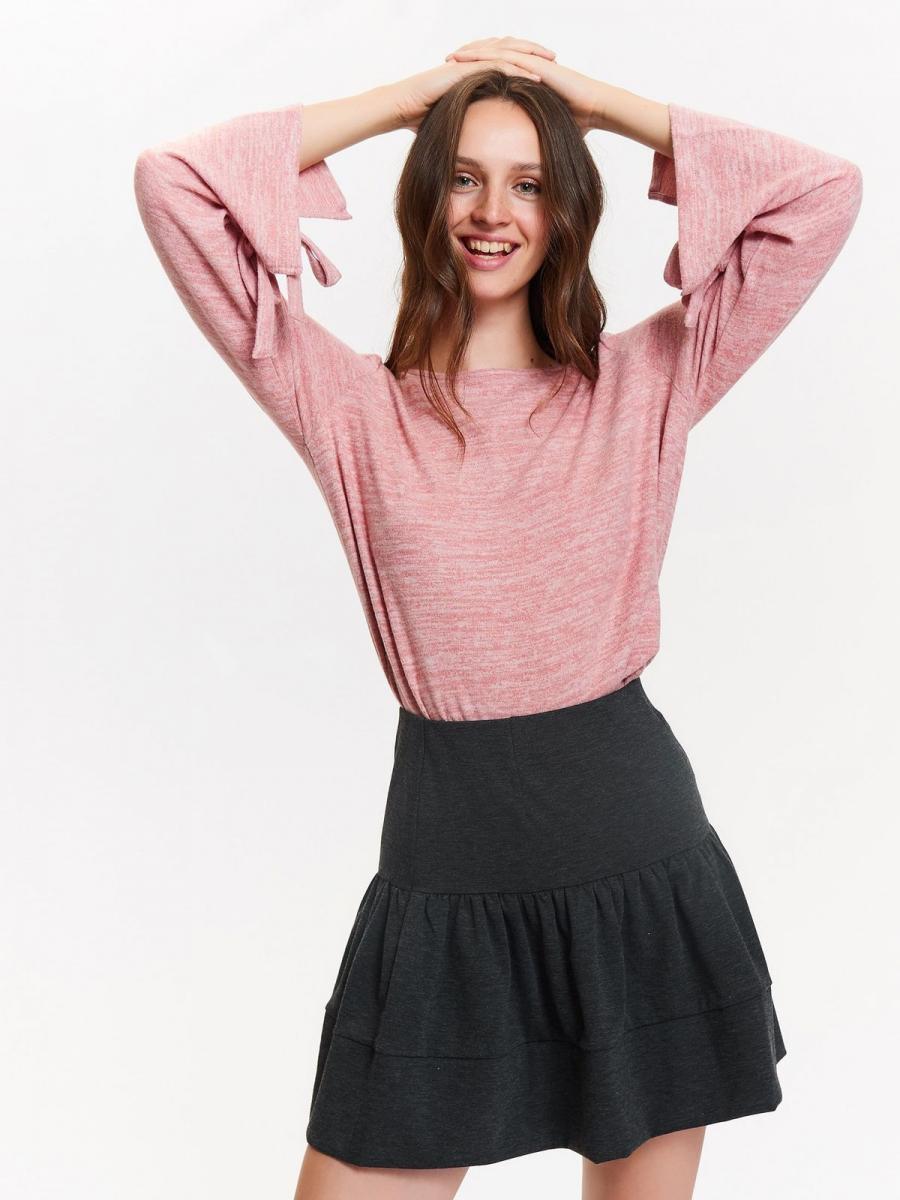 Top Secret Svetr dámský růžový se zavazováním na rukávech - Růžová - velikost 34