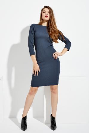 Šaty dámské modré na tělo na zip