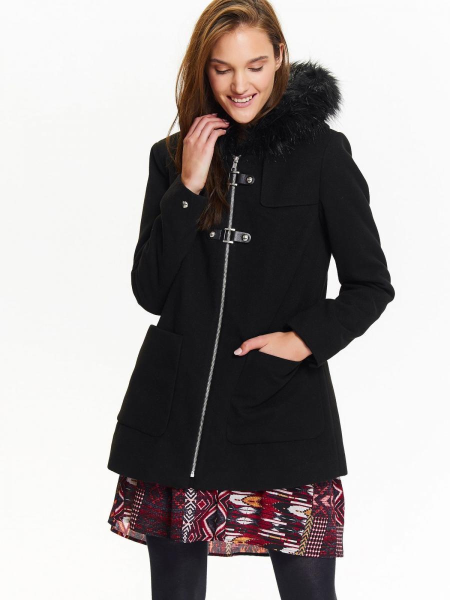 Top Secret Bunda dámská černá na zip s kožíškovou kapucí