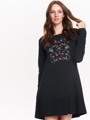 Šaty dámské bavlněné s potiskem a dlouhým rukávem