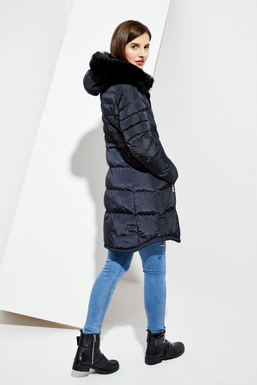 Moodo Bunda dámská prošívaná s kapucí - Tmavě modrá - velikost XS