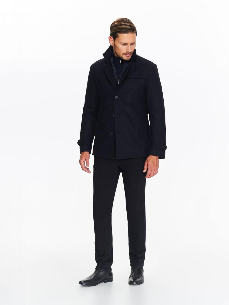 Top Secret Kabát pánský tmavě modrý vlněný na zip a knoflíky
