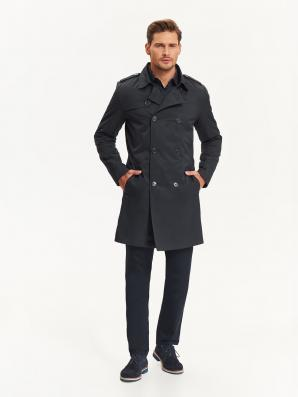Kabát pánský s dvouřadovými knoflíky a páskem