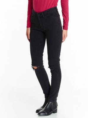 Jeansy dámské černé s dírou na koleni