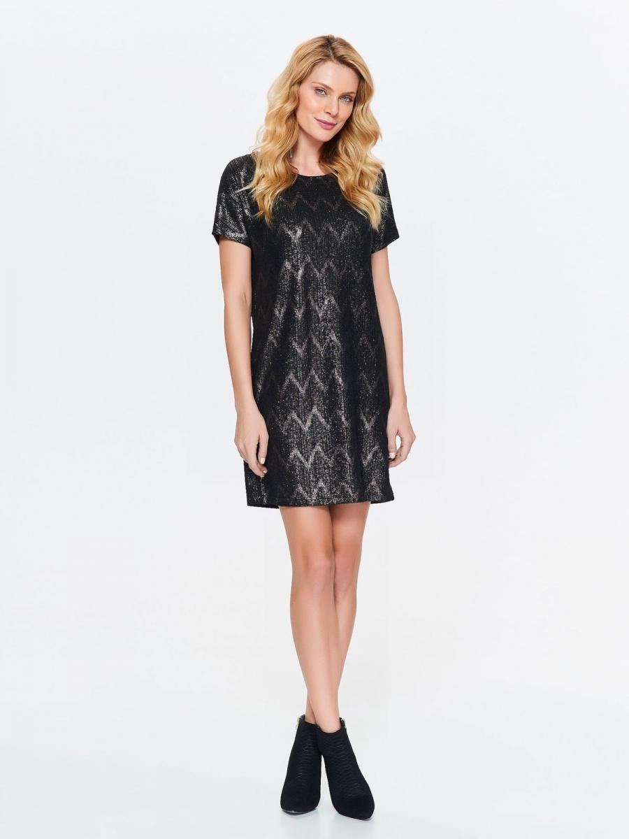 Top Secret šaty dámské černé vzorované s krátkým rukávem