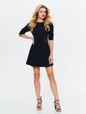 Šaty dámské černé se šněrováním v pase