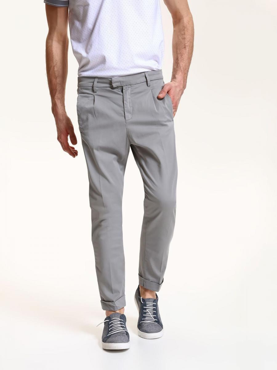 Top Secret Kalhoty pánské bavlněné šedé společenské - šedá - velikost 36