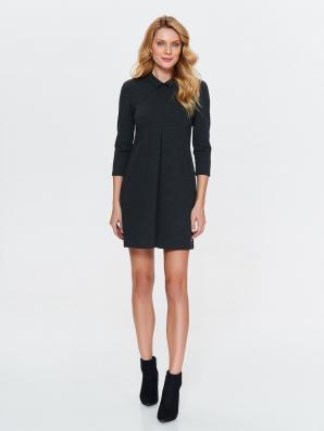Šaty dámské tmavě šedé s límečkem