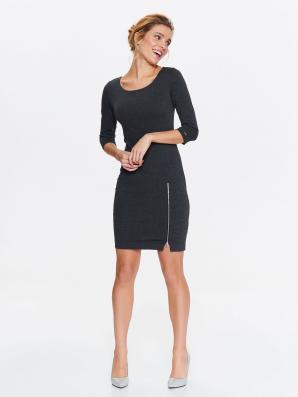 Šaty dámské se zipy s 3/4 rukávem