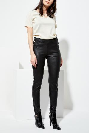Kalhoty dámské černé z imitace kůže