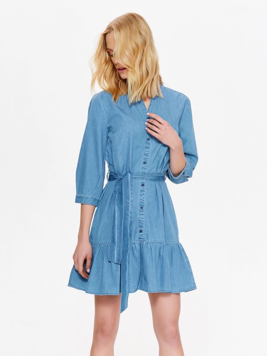 Top Secret šaty dámské jeans s volánkem a dlouhým rukávem