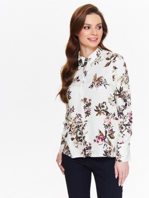 Košile dámská bílá s květinami a dlouhým rukávem