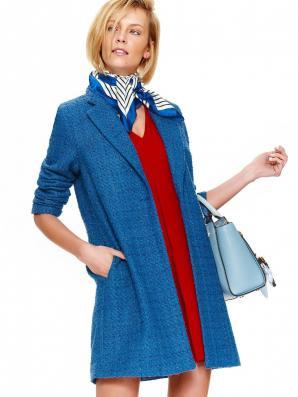 Kabát dámský modrý na jeden knoflík