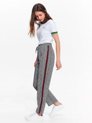 Kalhoty dámské kostkované s červeným pruhem