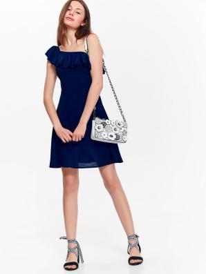 Šaty dámské tmavě modré s ohalenými rameny