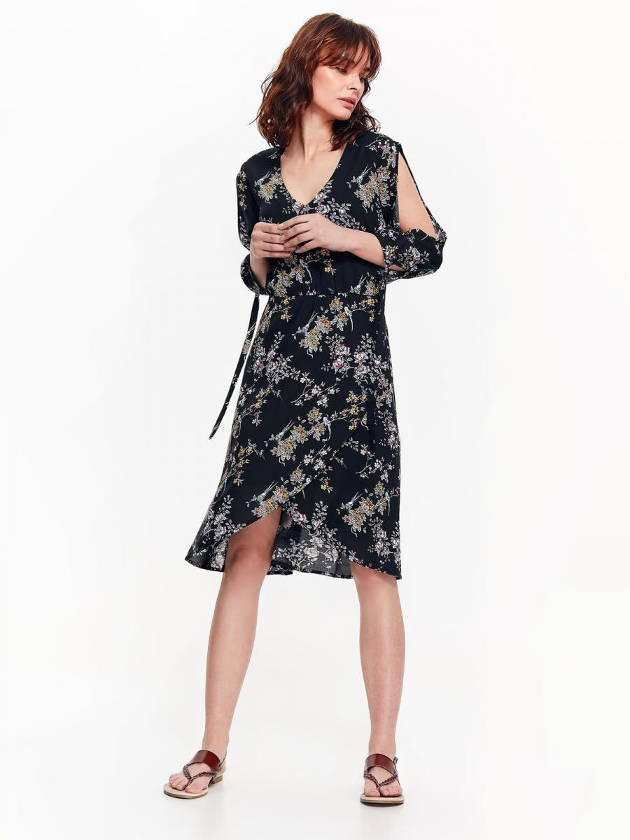 Top Secret šaty dámské černé s květinami