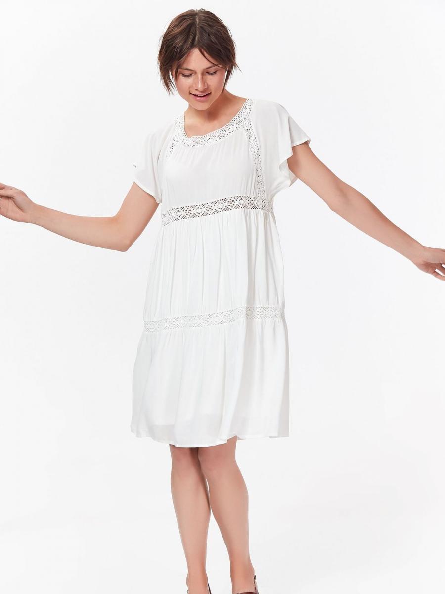 Top Secret šaty dámské bílé s krajkovým zdobením