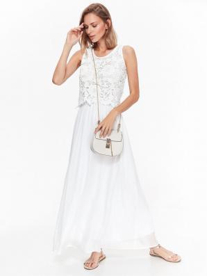 Šaty dámské dlouhé bílé zdobené krajkou bez rukávu