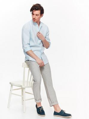 Košile pánská bledě modrá lněná s dlouhým rukávem