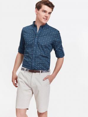 Košile pánská tmavě modrá se vzorem a dlouhým rukávem