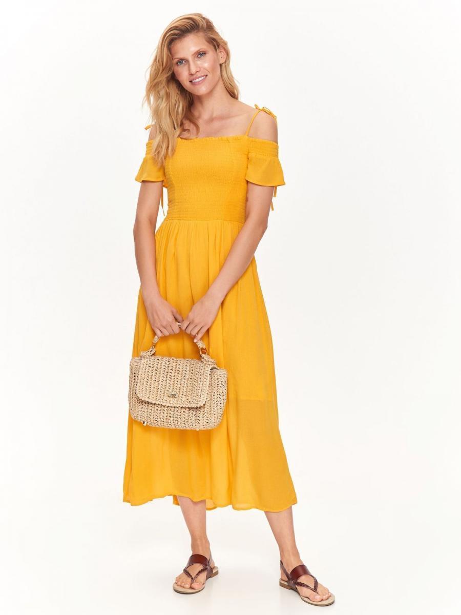 Top Secret šaty dámské MAXI žluté se šněrováním