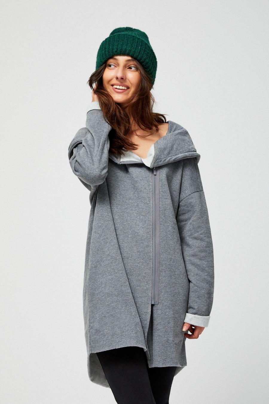 Moodo Mikina dámská s kapucí na zip dlouhá