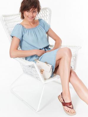 Šaty dámské jeans z lyocellu a odhalenými rameny