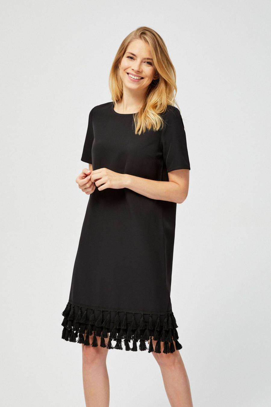 Moodo šaty dámské zdobené třásněmi - černá - velikost XS