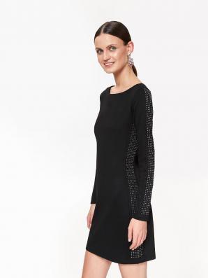 Šaty dámské černé se zdobením a dlouhým rukávem