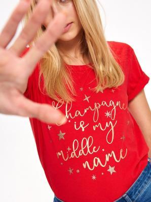 Triko dámské červené s krátkým rukávem