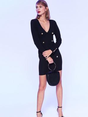 Šaty dámské černé s řadovými knoflíky
