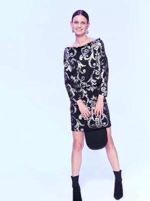 Šaty dámské vzorované s dlouhým rukávem