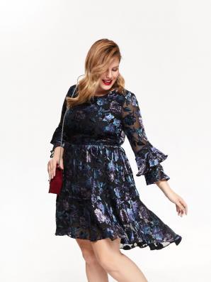 Šaty dámské květované s douhým volánkovým rukávem